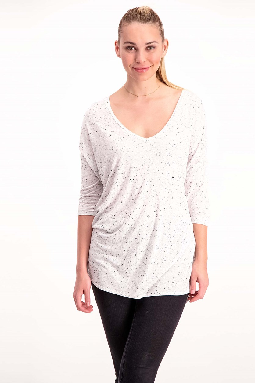 Three Quarter Sleeve Top, Heather Grey/White