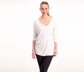 Larry Levine Three Quarter Sleeve Top, Heather Grey/White