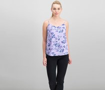 Women Juniors V-Neck Tank Top, Purple Floral