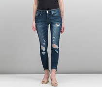 Juniors Ripped Raw-Edge Skinny Jeans, Dark Blue