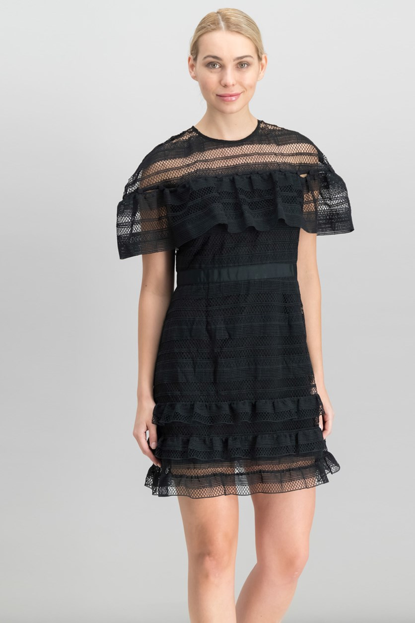 Women Ruffled A-Line Dress, Black
