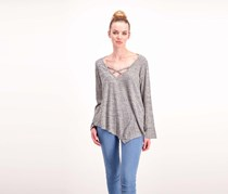 Status By Chenault Women's V-Neck Top, Grey
