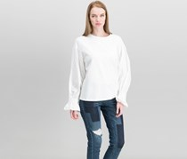 Olivia & Grace French Terry Smocked-Sleeve Top, White