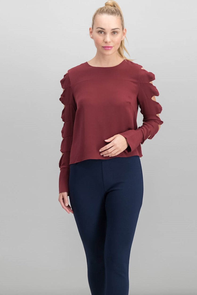 Women Dorothy Silk Cutout Twist-Detail Top, Burgundy