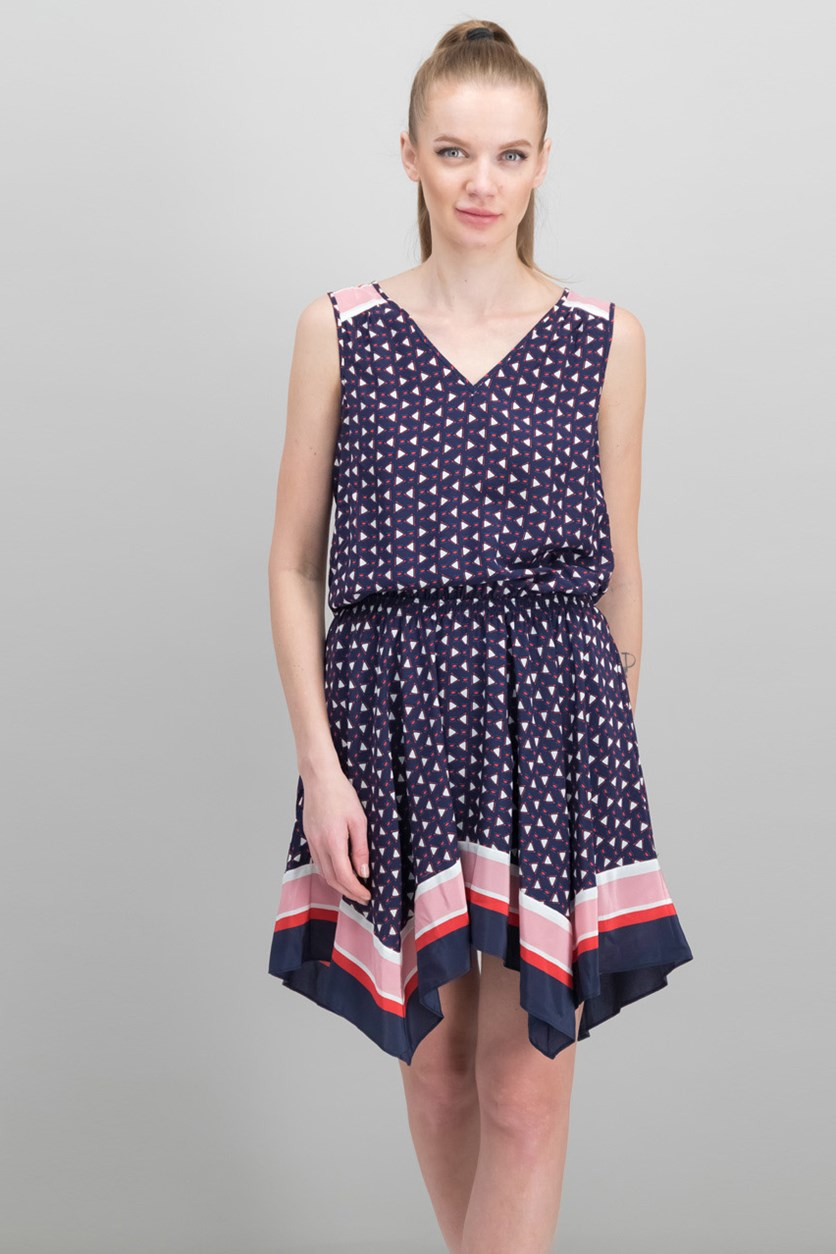 Ginabel Silk Handkerchief Dress, Navy Combo