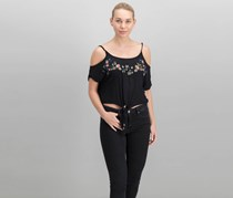 Polly Esther Juniors Embroidered Cold-Shoulder Top, Black