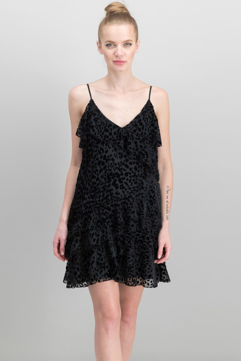 Athens Burnout-Velvet Leopard-Pattern Mini Dress, Black