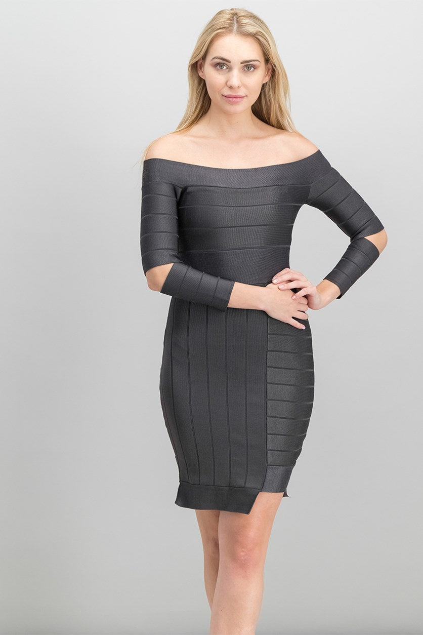 Women Off-the-Shoulder Sheath Dress, Graphite