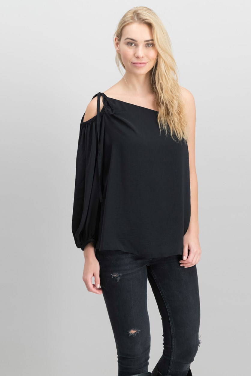 Women's Adjustable Strap One Shoulder Blouse, Black