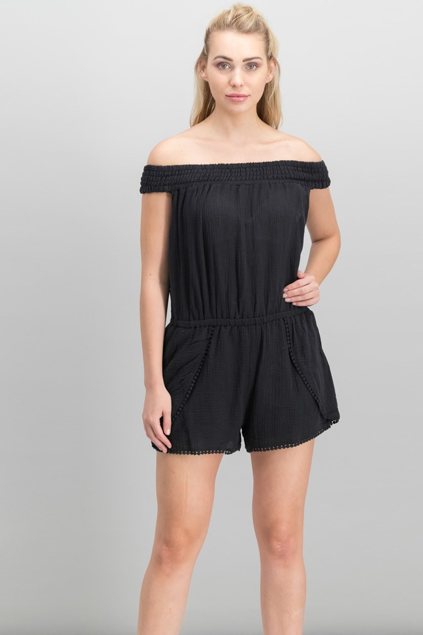 Women Off-The-Shoulder Layered Crepe Romper, Black
