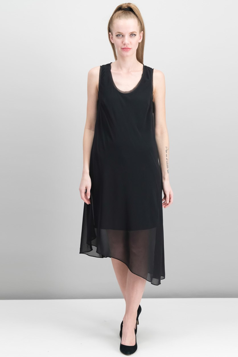 Women Asymmetrical Dress, Black
