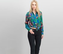 Rachel Roy Women Cropped Shirt, Bright Blue Combo