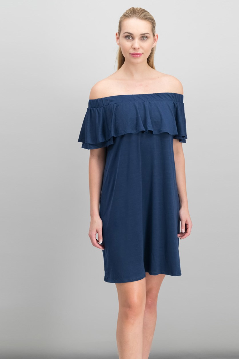 Off-The-Shoulder Shift Dress, Navy