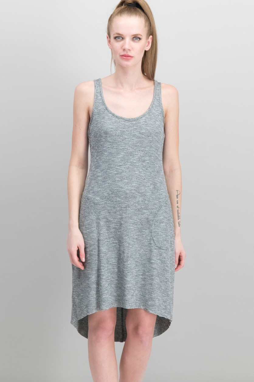 Ribbed High-Low Dress, Heather Gray
