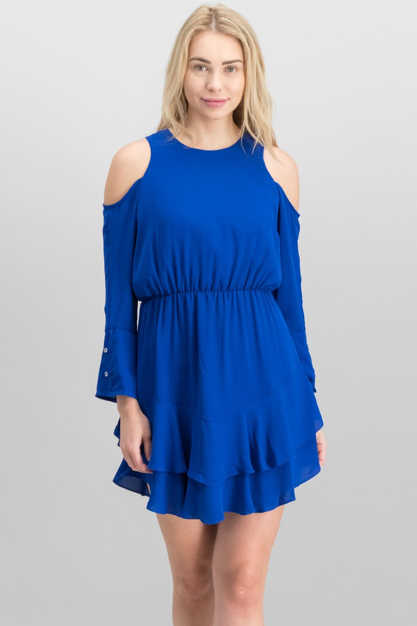 Coco Cold-Shoulder Dress, Cobalt Blue