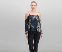 Rachel Roy Printed Cold-Shoulder Top, Bluesteel Combo