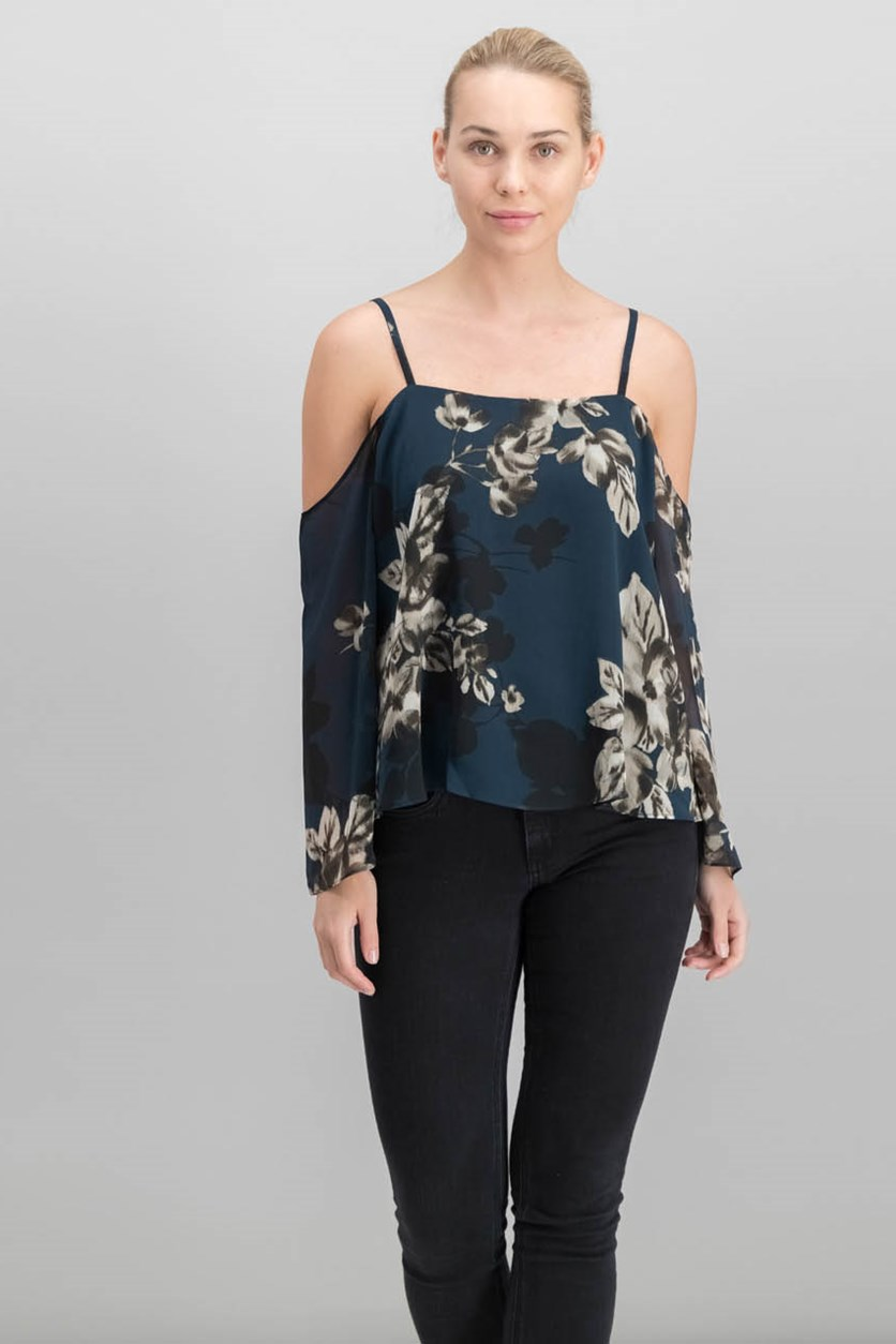 Printed Cold-Shoulder Top, Bluesteel Combo