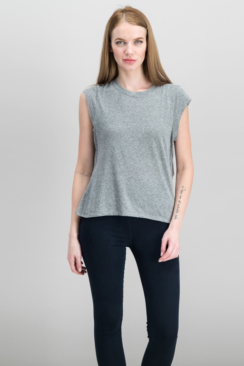 Women's Cap Sleeves Tie T-Shirt, Heather Grey