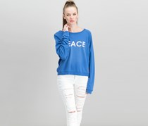 Women Faded Peace-Graphic Sweatshirt, Stone Blue