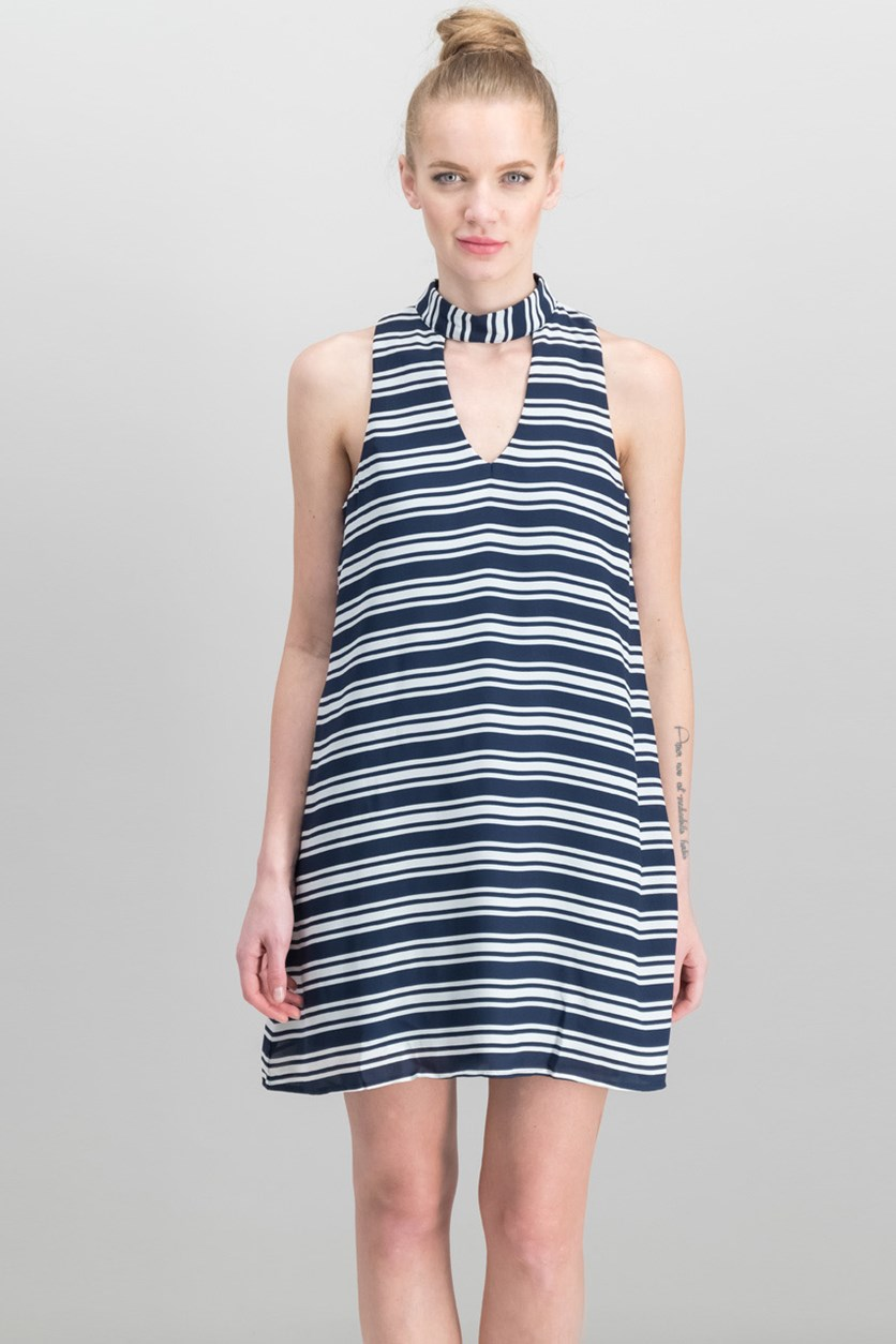 Women Juniors Striped Shift Dress, Navy/White