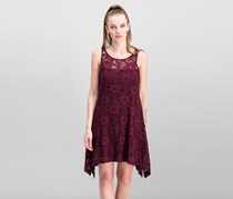 Signature by Robbie Bee Women's Petites Lace Overlay Hi-Low Cocktail Dress, Port