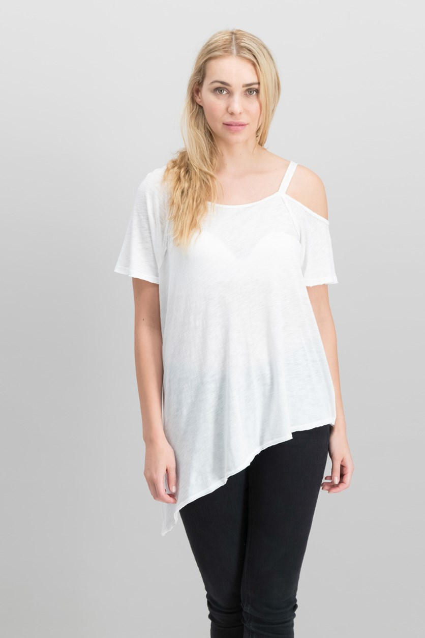 Coraline Cold-Shoulder T-Shirt, White