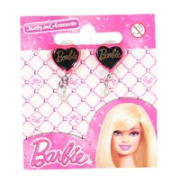 Barbie Kid's Girl's Heart Shape Earrings, Black/Pink