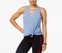 Material Girl Active Juniors' Lace-Up Printed Tank Top, Infinity