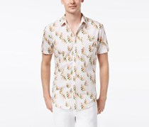 INC International Concepts Mens Snap-Front Floral Shirt, White Combo