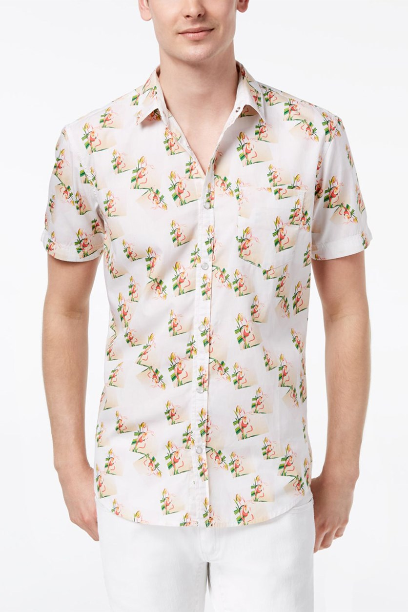 International Concepts Mens Snap-Front Floral Shirt, White Combo