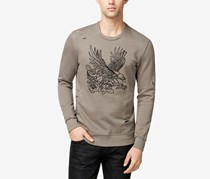 INC Mens Embroidered-Eagle Destroy Sweater, Taupe Tone