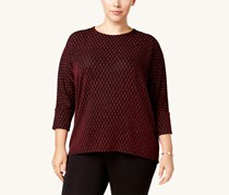 Alfani Womens Plus Metallic Dolman Sleeve Knit Top, Banner Red