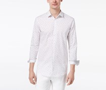INC International Concepts Mens Stretch Wheat-Print Shirt, White Combo