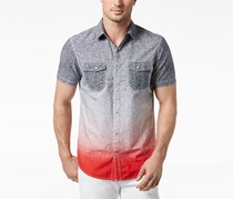 Inc International Concepts Men's Dip-Dyed Heathered Shirt, Licorice Red