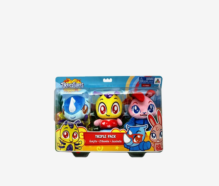 Treeatures Triple Pack Stuff Toy- Gunjita, Zithembe, Jesebelle, Blue/Pink/Yellow