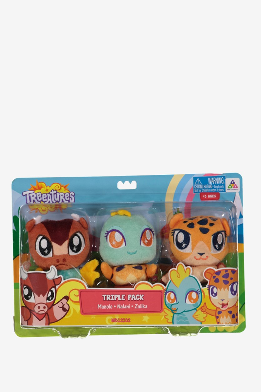Treeatures Triple Pack Stuff Toy- Manolo, Nalani, Zalika, Brown/Yellow/Mint