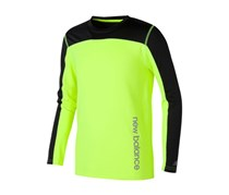 New Balance Boy's Long Sleeve Performance Tee, Green/Black