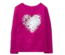 Crazy 8 Girls Sparkle Heart Tee, Purple