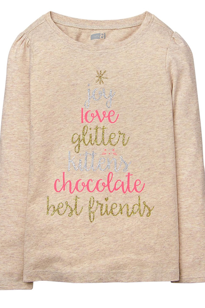 5f62e4051bc5 Shop Crazy 8 Crazy 8 Girls Long Sleeve Graphic Print Tee, Oatmeal ...
