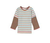 Cloud Mine Little Boys Stripe Tee, Brown/Blue Combo