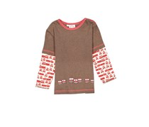 Cloud Mine Little Boys Pullover Graphic Tee, Brown Combo