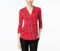 Charter Club Women's Pleated-Neck Multi-Print Top, Red