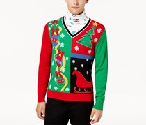 American Rag Men's Holiday Mock-Neck Sweater, Black/Green/Red/White