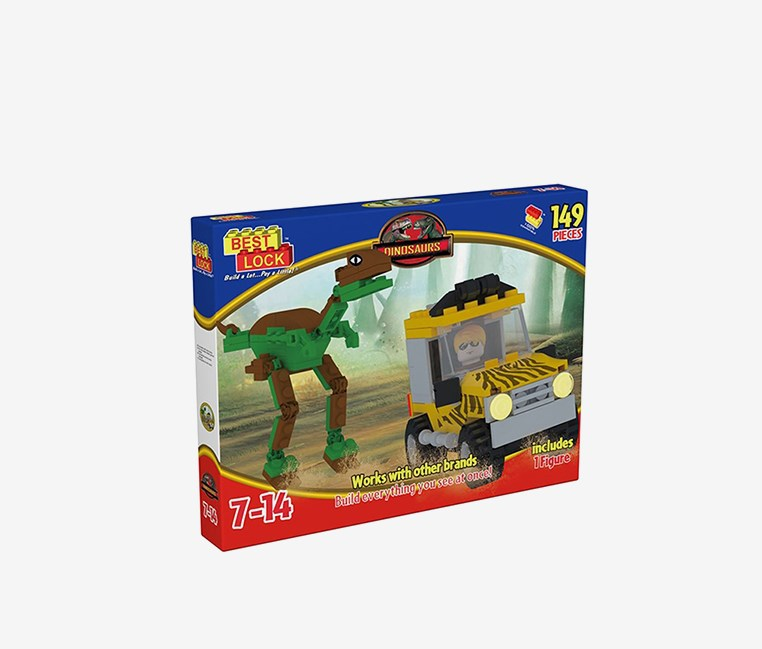 Best Lock 149-Pieces T-Rex Car Chase, Brown/Green