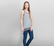 Calvin Klein Women's Stripe Tank Tops, Grey/White