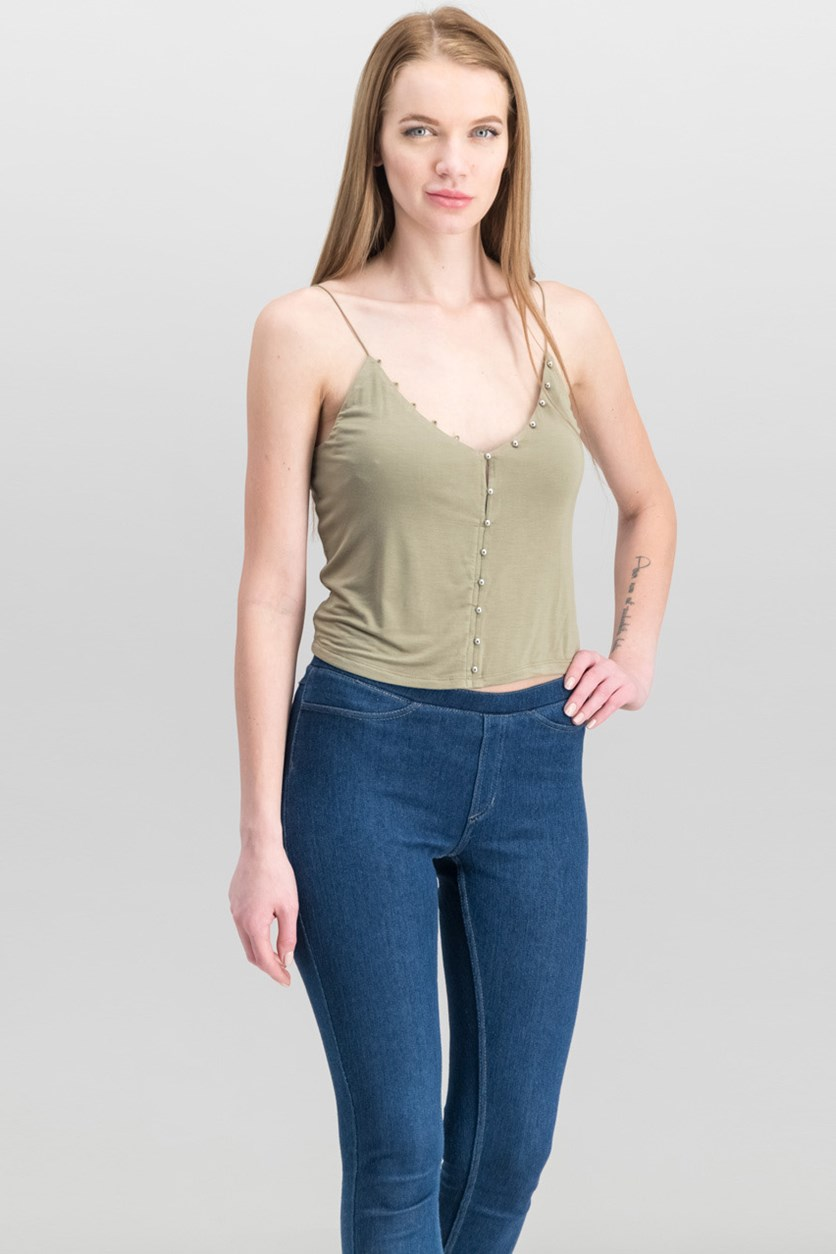 Women Edith Button-Trim Camisole Top, Warm Desert Olive
