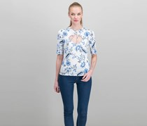 GUESS Keyhole Lace-Up Top, Ivy Floral Brilliant White