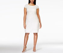Adrianna Papell Plus Size Short-Sleeve Sequin Dress, Ivory