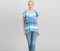 French Laundry Women's Printed Tops, Blue/White