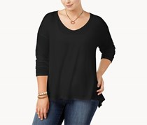 Say What Trendy Plus Size Long-Sleeve Top,  Black
